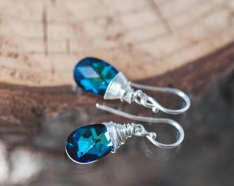 Small Bermuda Blue Earrings Swarovski Drop Earrings Birthday Gift for Her Summer Earrings Crystal Earrings Wire Wrapped Earrings Gift Idea