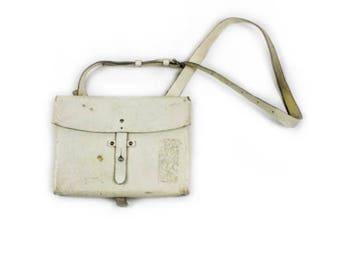 WWII Swiss Army White Leather Satchel