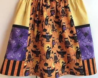 Owls Go Boo  big pocket  skirt   (2T, 3T, 4T, 5T, 6, 7)