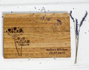 dandelions oak chopping board