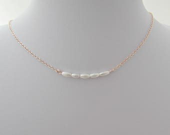 Seed Pearl Necklace, Tiny Pearl Necklace, Rose Gold Pearl Necklace, Girl Gifts, UK Seller, Bridesmaid Gifts, Bridal Necklace, Flower Girl