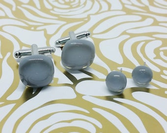 Gray Matching Glass Cuff Links and Earrings, Wedding, Prom or Formal Attire