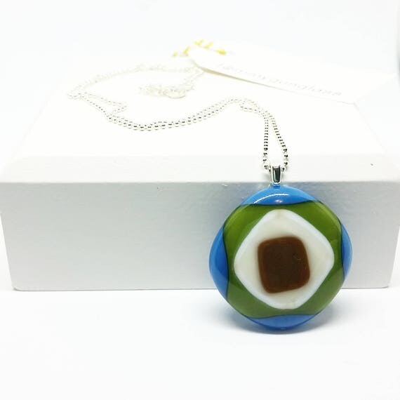 Blue, Green, and Brown Abstract Glass Pendant with Silver Chain