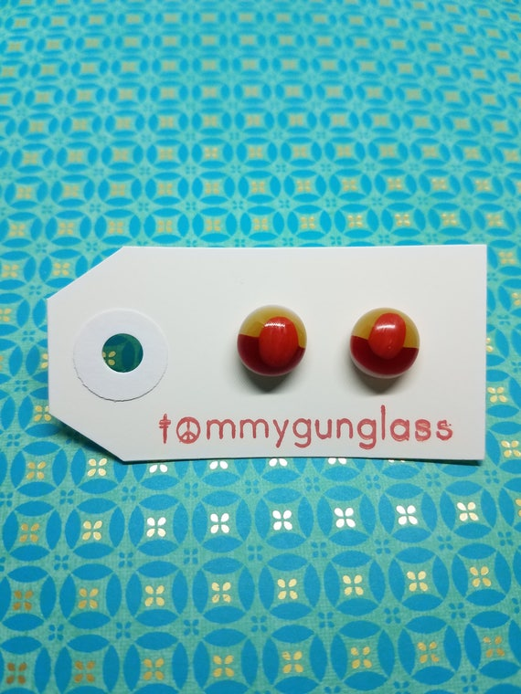 Tri-Color Red, Orange, and Gold Stud Earrings