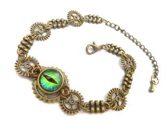 Green eye steampunk bracelet