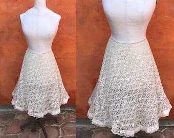 Vintage 1950s 1960s Ivory Lace Tulle Skirt. Crinoline Slip Skirt Rockabilly Pinup. Vintage petticoat VOLUP large xl