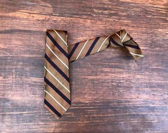 Vintage 1950s 1960s Mod Skinny Neck Tie.  vintage menswear. mid century modern necktie. 100% Silk Golden Brown Black Red White Stripes