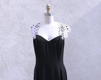 1/2 Off SALE Vintage Jessica McClintock, 80s Black Gown, Sweetheart Neckline, Long Evening Dress, Made in the USA