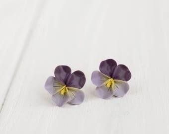 Dark Purple Pansies Kiss-me-quick Stud Earrings Wholesale Women Small Hypoallergenic Handmade Studs Wedding Bridal Birthday Gifts Earrings