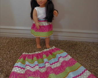 2 piece Matching Dollie and me skirts - Cute pink green blue stripe spring skirts for American Girl, Our Generation, 18 inch dolls and girl