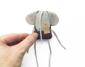 Tiny Elephant Doll, Tiny Toy Elephant, Miniature Elephant Plushie, Elephant Softie, Handmade Toy Elephant, Poosac