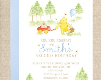 Watercolor Winnie the Pooh Invitations