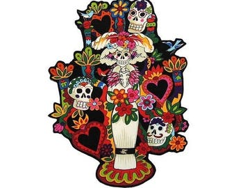 ON SALE 40% OFF Tree of Life - Iron on Patch - Tattoo - Senorita - Mexican - Folk Art - Sugar Skull - Large - Day of the Dead - Patches - No