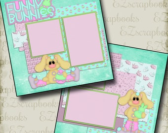 FUNNY BUNNIES - 2 Premade Scrapbook Pages - EZ Layout 996