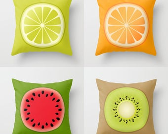 FRUIT Throw Pillow, Indoor, Outdoor, Red Green Black White Yellow Beige, Kitchen Nurcery Dining room, Cushion, Toss, Modern, Nature, Bright