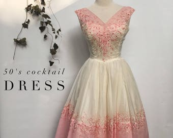 50s pink and ivory cupcake prom / wedding / cocktail dress- 50s  silk organza full skirt party dress - small