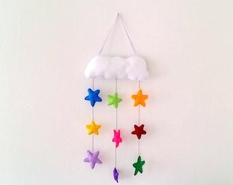 Nursery mobile stars, cloud mobile, wall hanging nursery decor, felt colorful stars, baby girl nursery, baby boy nursery, kids room decor