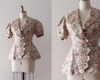vintage 1930s jacket // 30s scalloped jacket