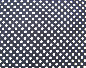 Flannel Fabric by the Yard in a Dark Navy and White Polka Dot Print 1 Yard
