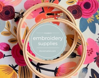 "7"" embroidery hoops - set of 2 - embroidery supply - wooden hoop 7"""
