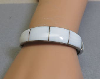 Vintage Alpaca Metal White Shell Cuff Bracelet