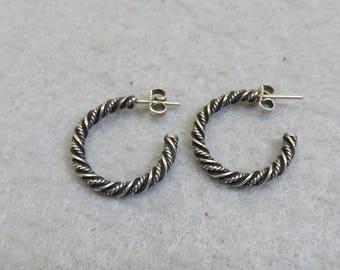 Sterling Silver Rope Design Pierced Hoop Earrings, Post Style