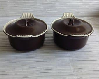 Pair Le Creuset Cast Iron Enamel Mini Casserole Covered Pans.  #14.  La Mama.  Brown & Cream.  Mid century, Eames era. France. Vintage  1960