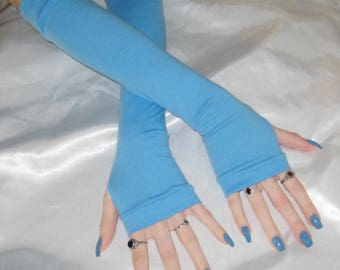 Blue Fingerless gloves Arm warmers armwarmers arm warmer armwarmer sleeve sleeves thumbholes thumb holes thumbhole jersey stretch gloves emo