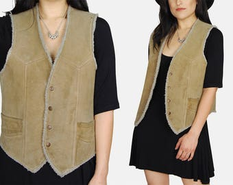 Tan SHERPA Suede LEATHER Vest Vtg 70s Faux Fur Soft Shearling Lined Hippie WESTERN Rancher Country Boho Rocker Distressed - Medium/Large