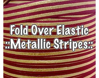 Fold Over Elastic - Metallic Stripes, perfect for hair bows and accessories