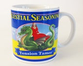 "CELESTIAL SEASONINGS ""Tension Tamer"" MUG - Cup / Vintage Sakura Ceramic Mug from Indonesia 1995 / 3.5"" Tall / Great Tea Lover's Gift"
