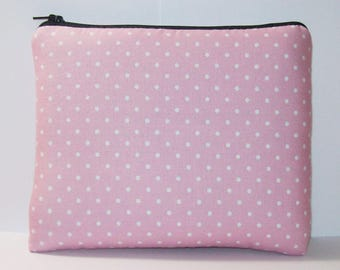 "Pipe Pouch, Pink Dots Bag, Pipe Bag, Glass Pipe Case, Girly Bag, Zipper Pouch, 420, Padded Pipe Pouch, Smoke Accessory, 7.5"" x 6"" - X LARGE"