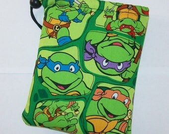 "Padded Pipe Pouch, Glass Pipe Case, Pipe Bag, Ninja Turtle Bag, Hero Pouch, Green Pouch, Geek Gift, Padded Bag, Gadget Bag - 7"" DRAWSTRING"