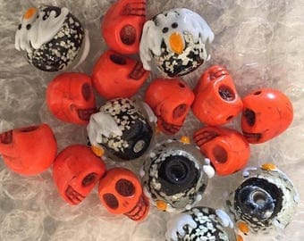 """Great Sale Skulls and Bat Beads Howlite and Glass 16 Beads 1/4"""" to 1/2"""""""
