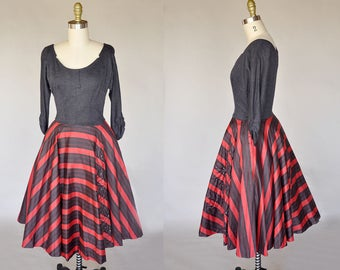 50s red dress | vintage 50s dark grey and red striped dress | quilted floral design with rhinestones