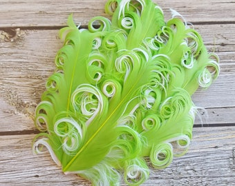 Curly Feather Pad -  Two Tone Lime Green on White FP101 - (1 piece)