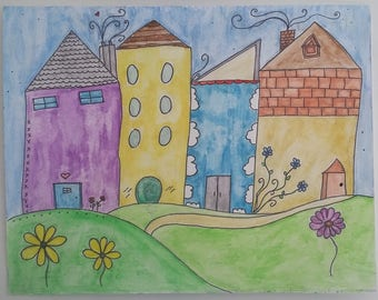 Whimsical Houses Original Watercolor Painting