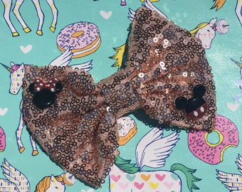 Mickey and Minnie bow - mickey bow, Mickey Mouse bow, minnie bow, Minnie Mouse bow, disney bow, gold bow, sequin bow, sequins bow