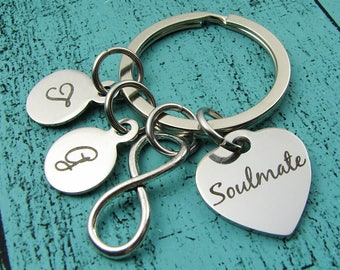 gift for husband wife, anniversary gift, Valentines Day gift, boyfriend anniversary girlfriend gift, soulmate keychain birthday gift for him