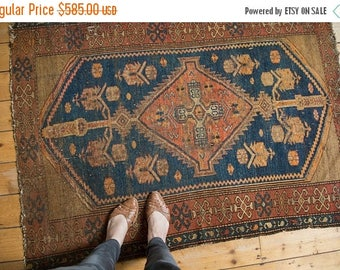 10% OFF RUGS 4x5 Vintage Kurdish Malayer Square Rug