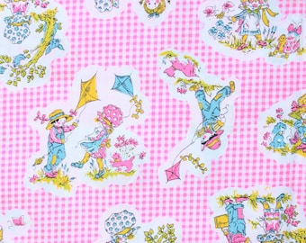 1960's Pink Gingham Children's Fabric with Girls Kites and Garden Flowers Sweet 60s 1970s 70s Retro Cotton Material
