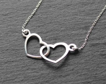 Interlocking hearts necklace, double hearts, entwined hearts necklate, sterling silver, mother and doughter, mom birthday, sister necklace