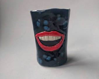Happy handmade ceramic tumbler, wine vessel, coffee cup, conversation piece, toothbrush holder, 6oz, expressive mouth mother's day gift