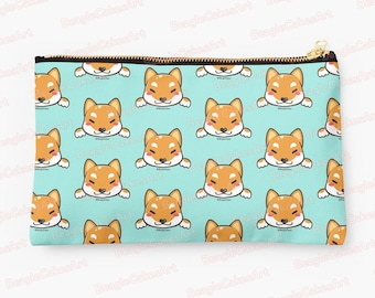 Shiba Inu Zipper Pouch, Dog Studio Pouch, Makeup Bag, Gift for Her, Mini Coin Purse, Blue Hand Bag, Animal Pattern Purse, Zipper Pouch, Gift