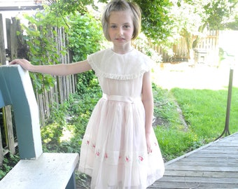 Vintage Girls Clothes   1950's Pink and White Chiffon Sleeveless Girl's Dress   Vintage Girls Dress   1950s Girl's Dress   Size 6-6X