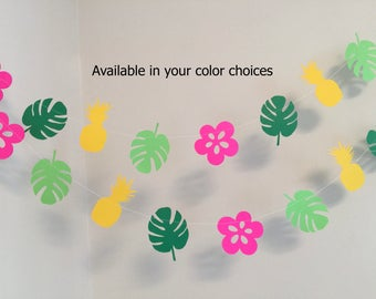 Tropical Birthday Decorations/ Pineapple Party / Tropical Bridal Shower Decorations / Luau Party Decor / Hawaiian You Choose the Colors