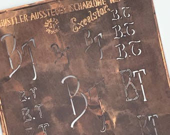 BT Large Vintage European Copper Monogram Dowry Stencil 9030