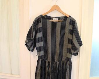 vintage 1980s oversized Linen Stripes Dress