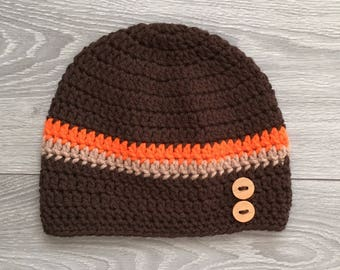 Ready to Ship - Crochet Hat with Wood Buttons - 3-4 year old size