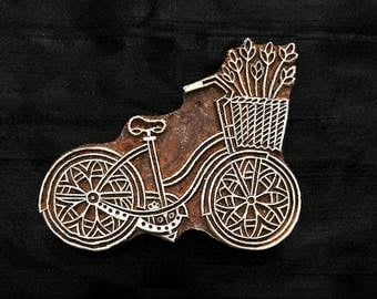 Bicycle hand carved Indian block printing stamp/tjap/textile pottery stamp/ wooden block for printing/ paper and fabric printing stamp